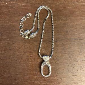 Brighton Rhinestone Heart Badge/ID Clip Necklace